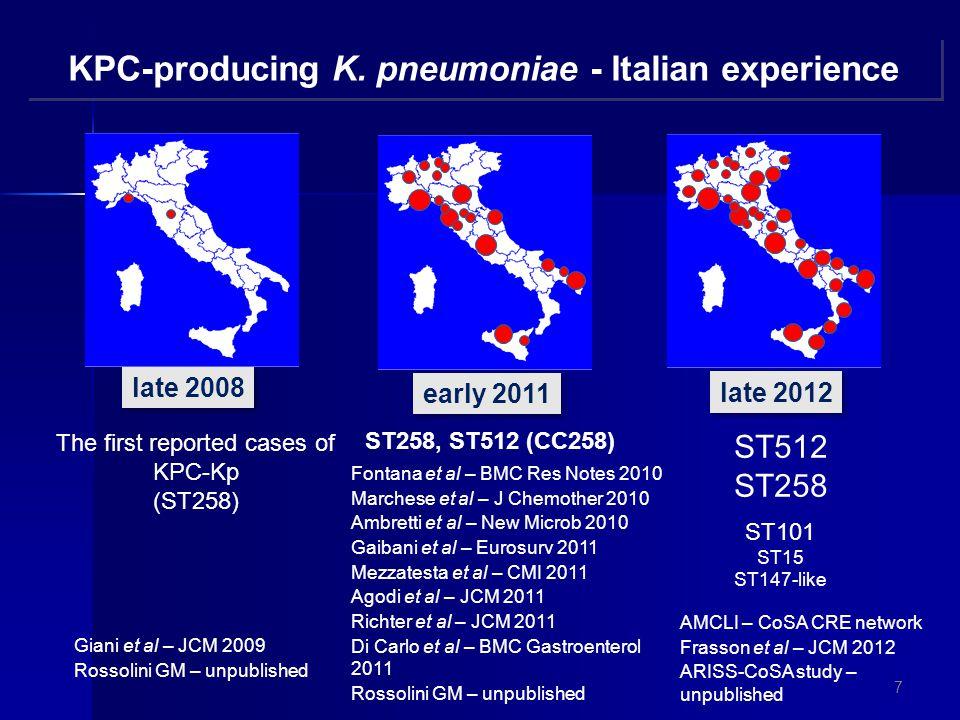KPC-producing K. pneumoniae - Italian experience