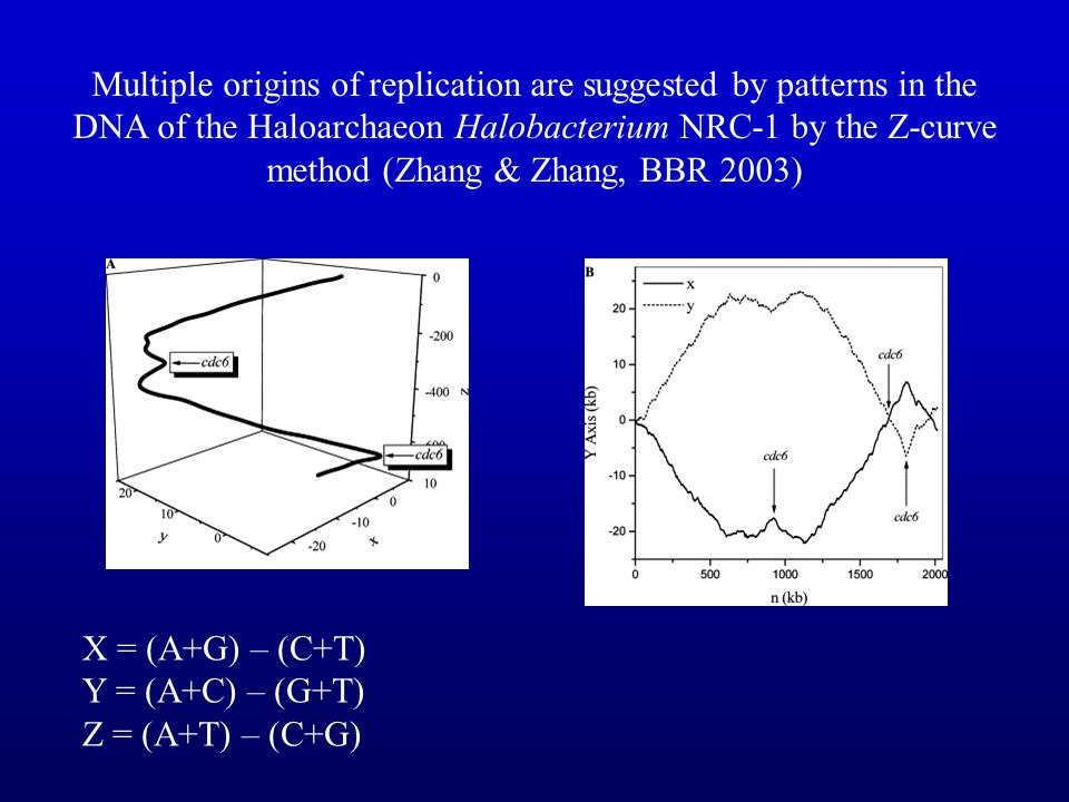 Multiple origins of replication are suggested by patterns in the DNA of the Haloarchaeon Halobacterium NRC-1 by the Z-curve method (Zhang & Zhang, BBR 2003)