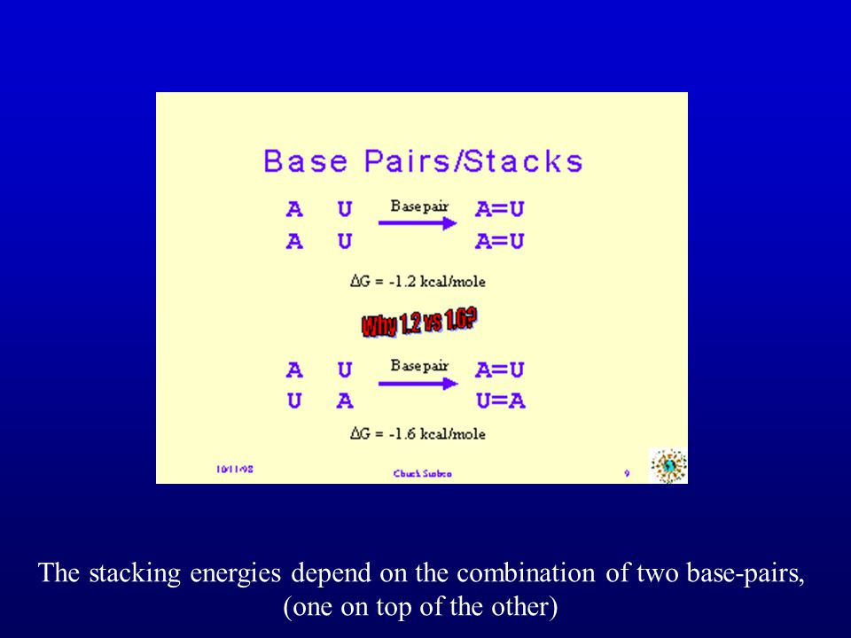 The stacking energies depend on the combination of two base-pairs,
