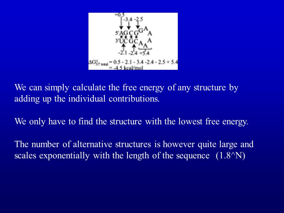 We can simply calculate the free energy of any structure by adding up the individual contributions.