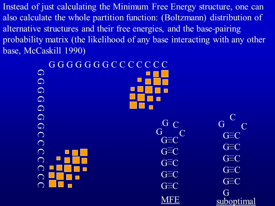 Instead of just calculating the Minimum Free Energy structure, one can also calculate the whole partition function: (Boltzmann) distribution of alternative structures and their free energies, and the base-pairing probability matrix (the likelihood of any base interacting with any other base, McCaskill 1990)