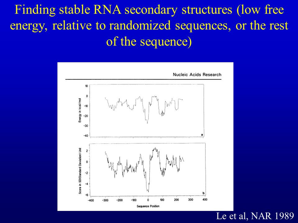 Finding stable RNA secondary structures (low free energy, relative to randomized sequences, or the rest of the sequence)