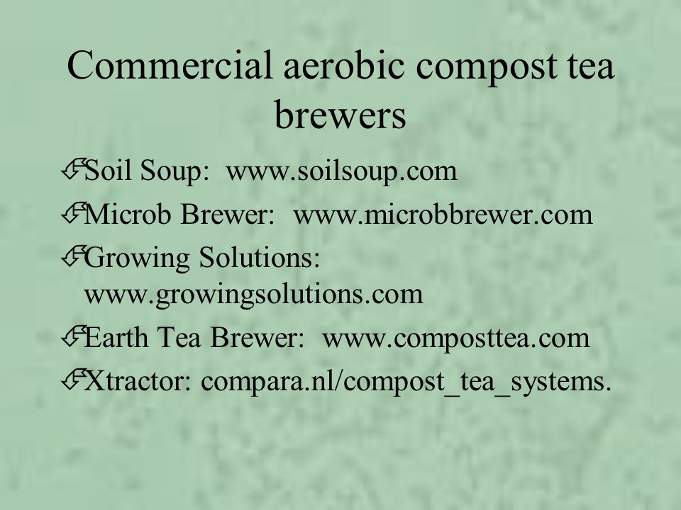 Commercial aerobic compost tea brewers