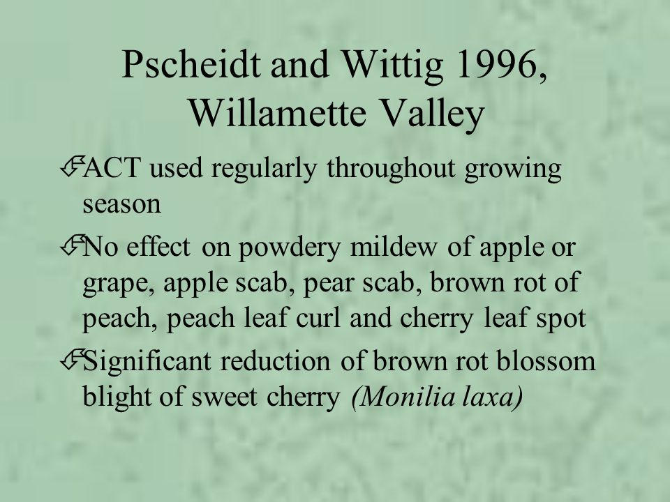Pscheidt and Wittig 1996, Willamette Valley