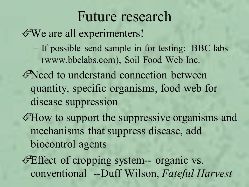 Future research We are all experimenters!