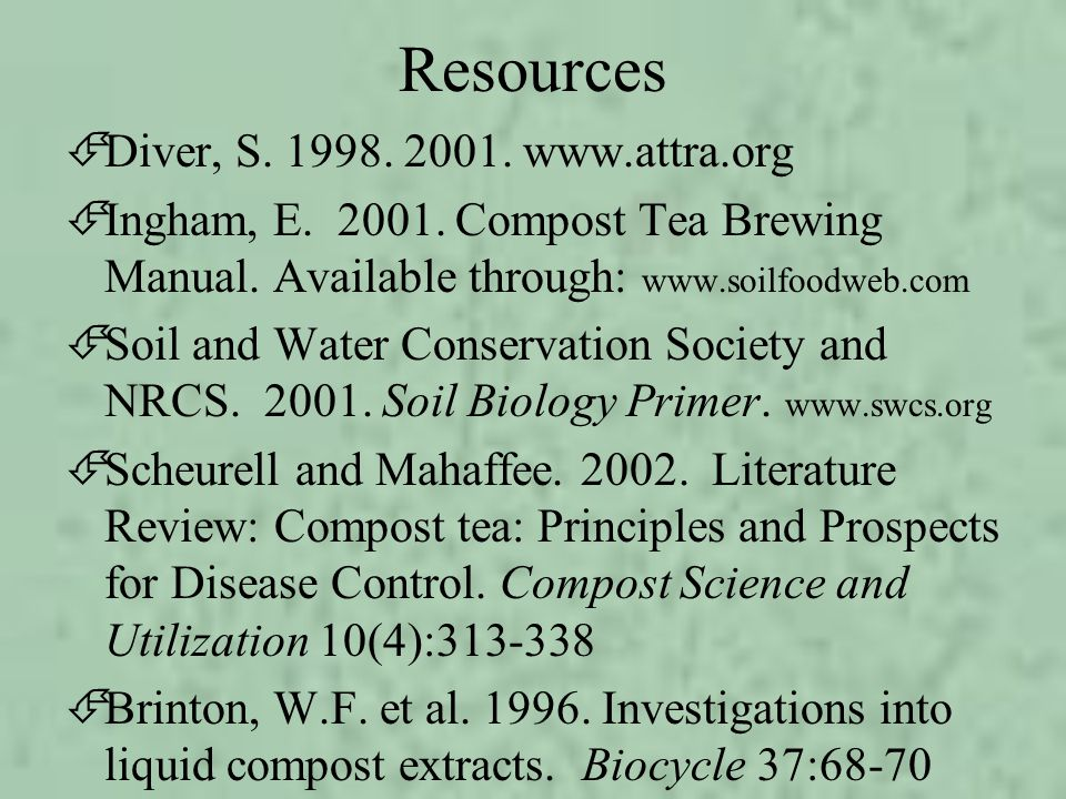 Resources Diver, S. 1998. 2001. www.attra.org