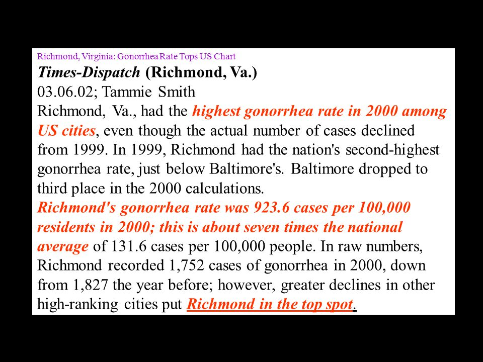 Richmond, Virginia: Gonorrhea Rate Tops US Chart Times-Dispatch (Richmond, Va.) 03.06.02; Tammie Smith