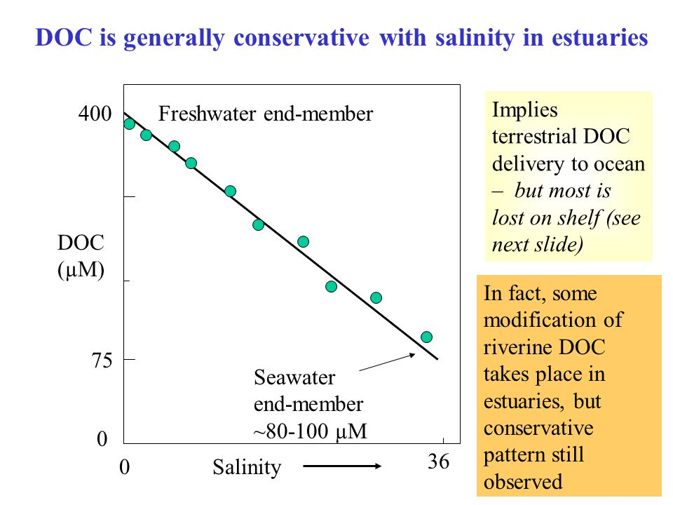 DOC is generally conservative with salinity in estuaries