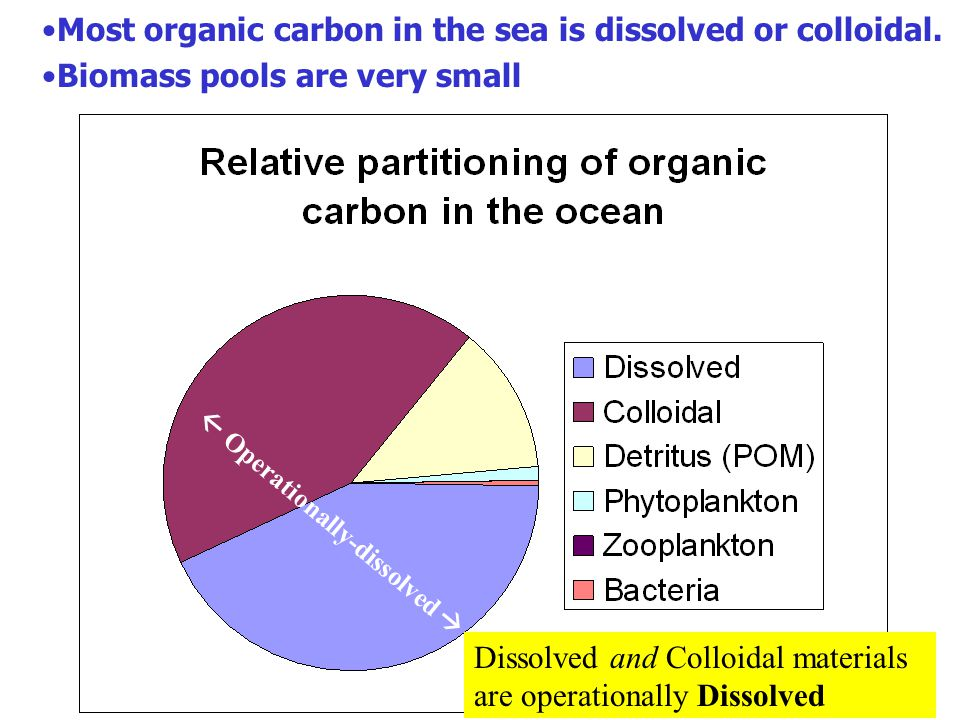 Most organic carbon in the sea is dissolved or colloidal.