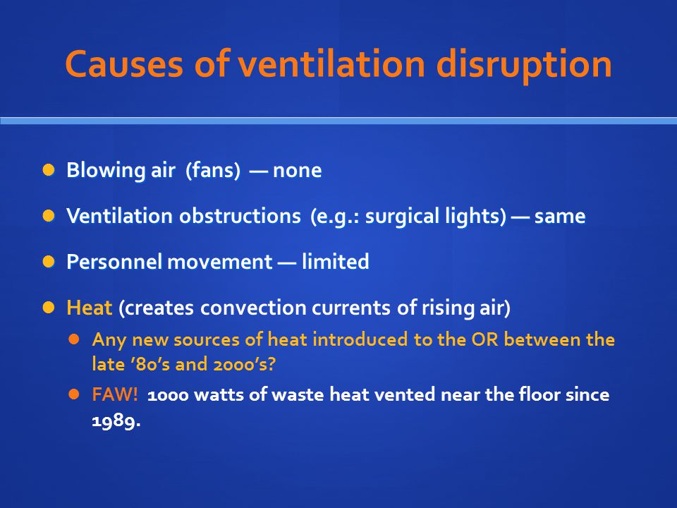 Causes of ventilation disruption