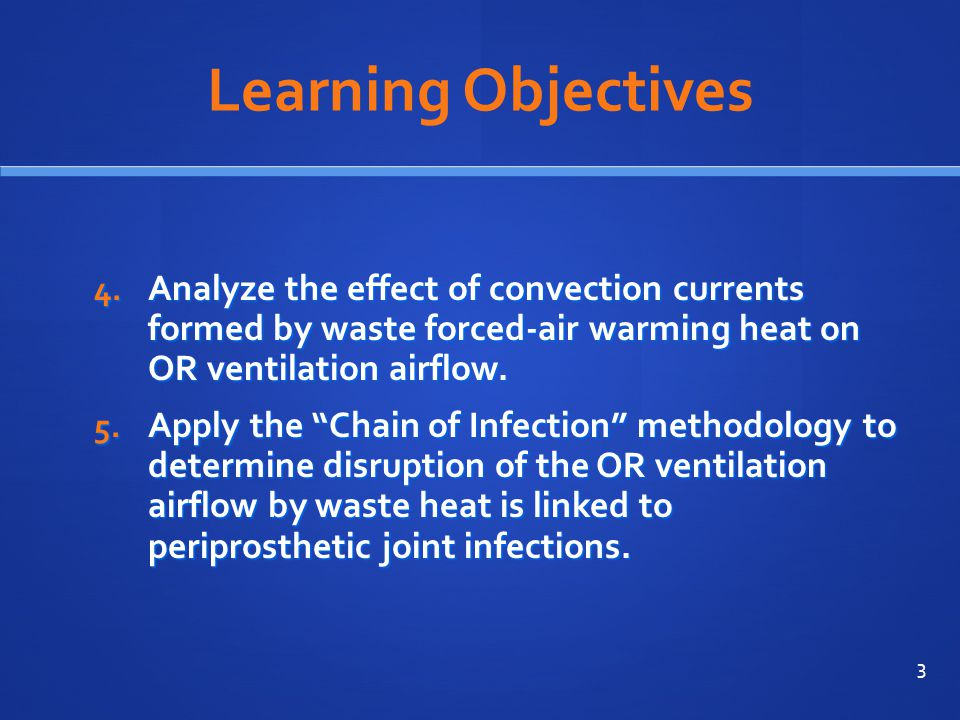 Learning Objectives Analyze the effect of convection currents formed by waste forced-air warming heat on OR ventilation airflow.