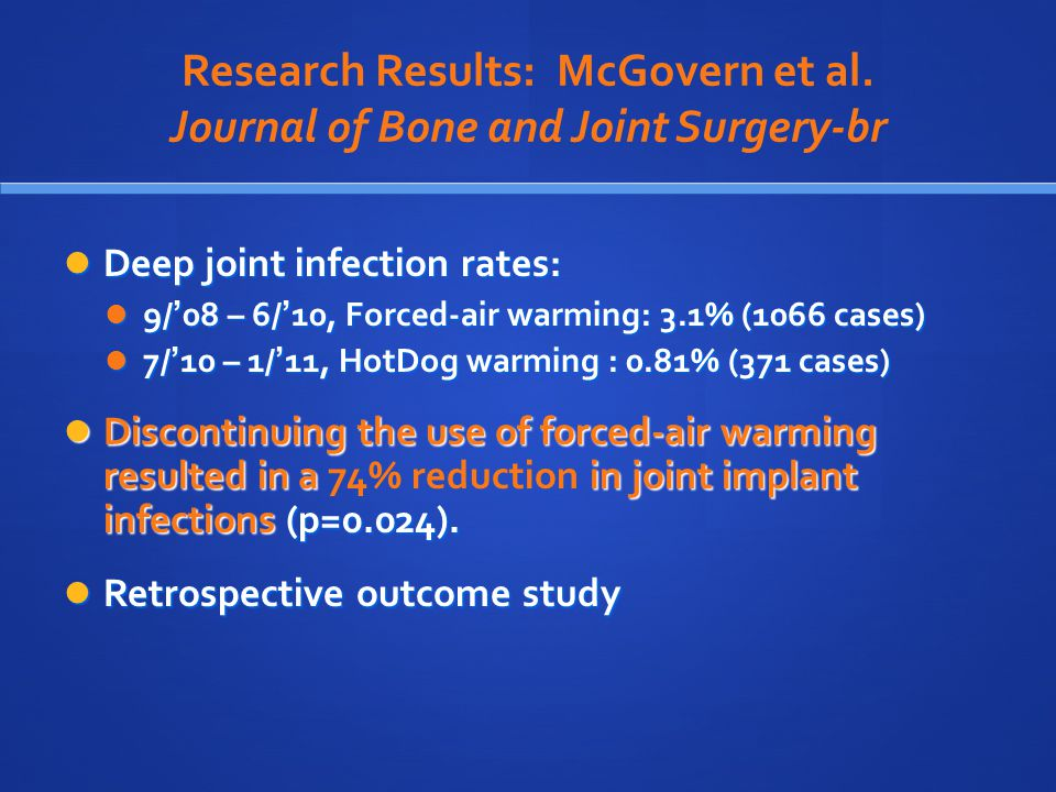 Research Results: McGovern et al. Journal of Bone and Joint Surgery-br