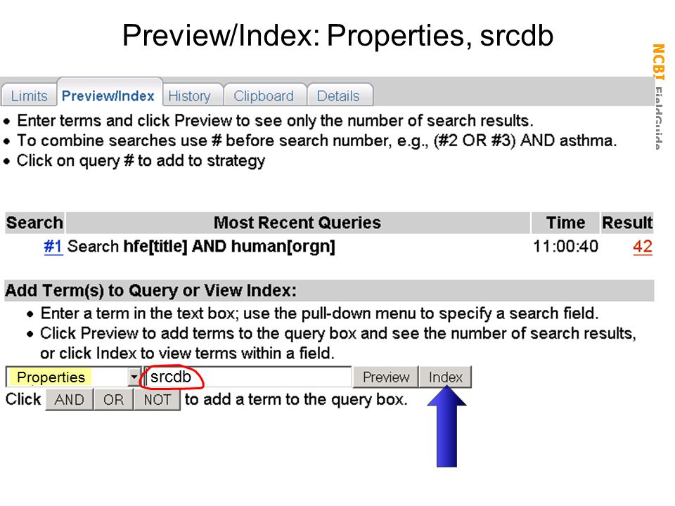 Preview/Index: Properties, srcdb