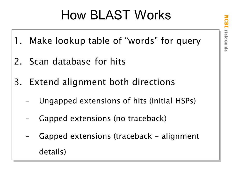 How BLAST Works Make lookup table of words for query