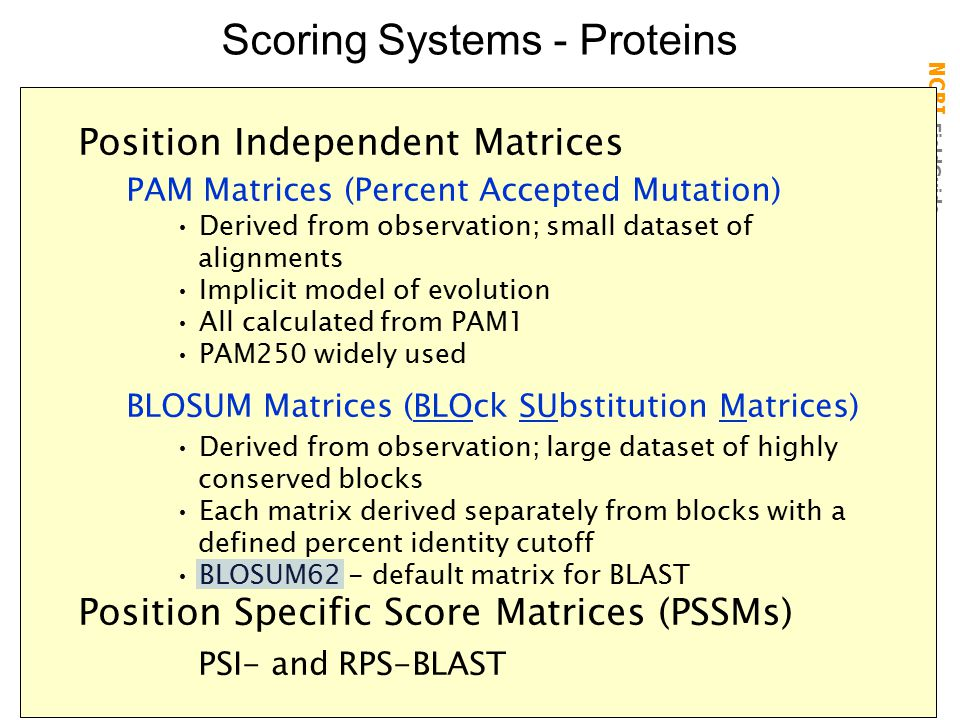 Scoring Systems - Proteins