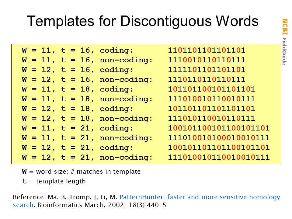 Templates for Discontiguous Words