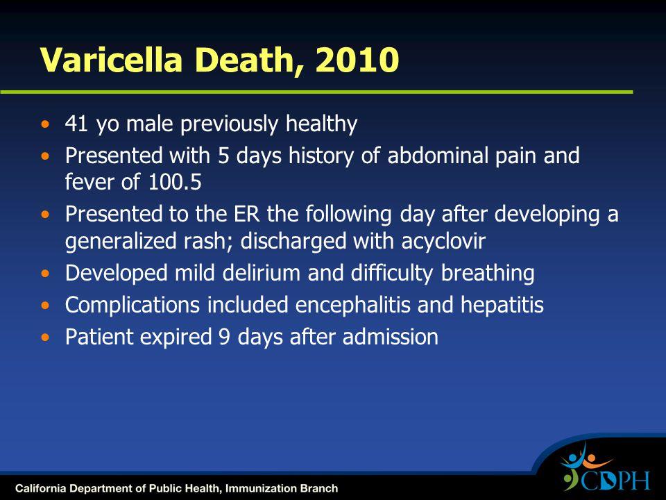 Varicella Death, 2010 41 yo male previously healthy