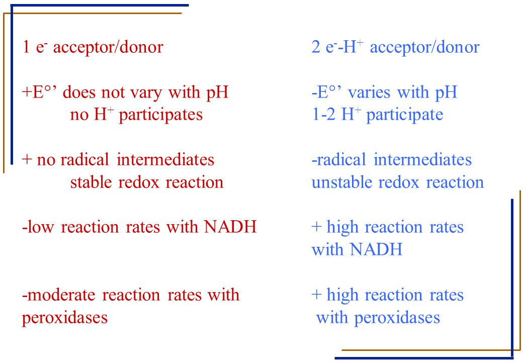 1 e- acceptor/donor. 2 e--H+ acceptor/donor +E°' does not vary with pH