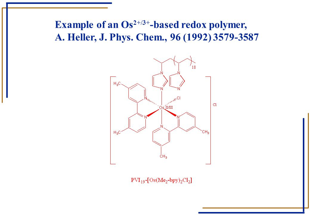 Example of an Os2+/3+-based redox polymer, A. Heller, J. Phys. Chem