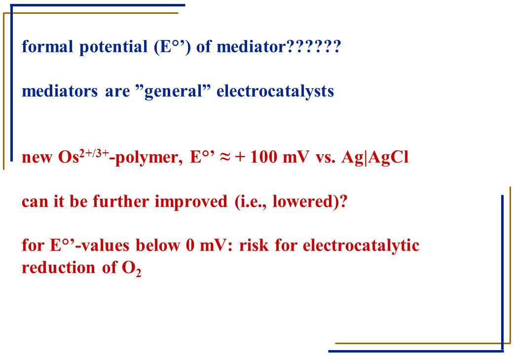 formal potential (E°') of mediator