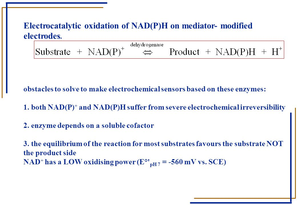 Electrocatalytic oxidation of NAD(P)H on mediator- modified electrodes