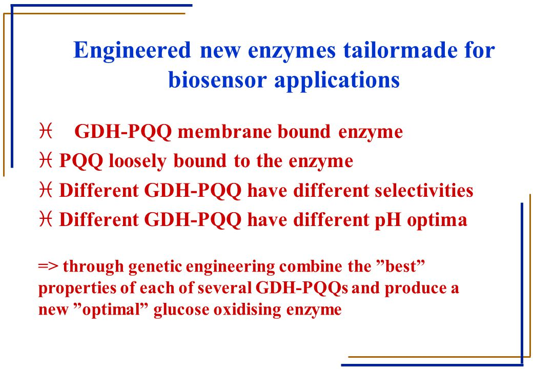 Engineered new enzymes tailormade for biosensor applications