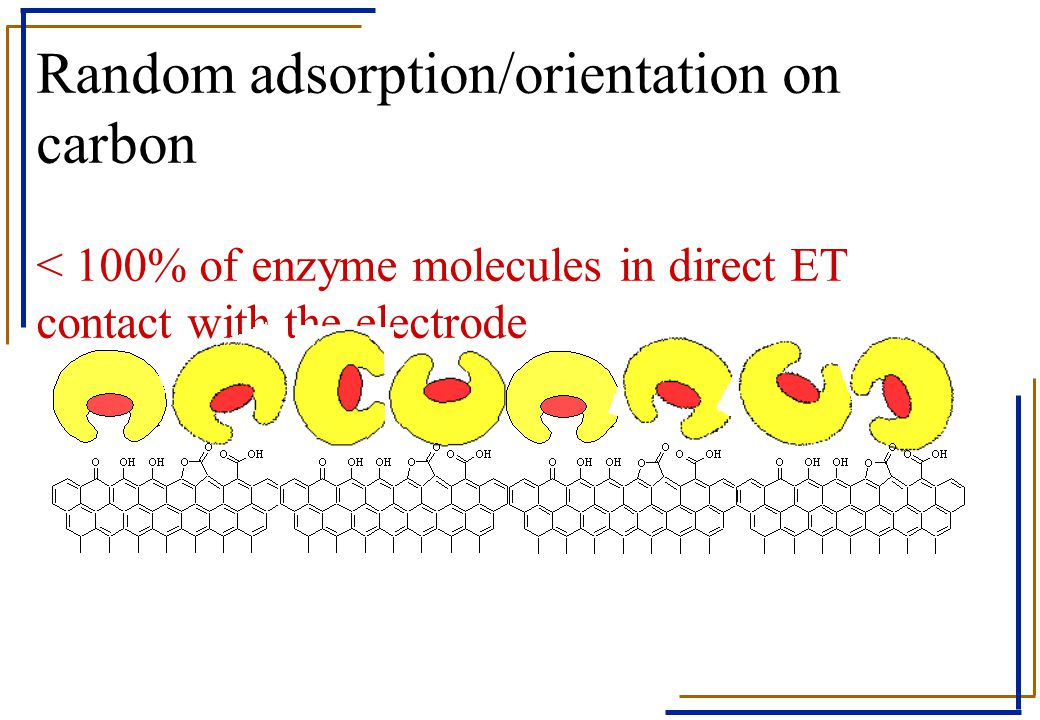Random adsorption/orientation on carbon < 100% of enzyme molecules in direct ET contact with the electrode
