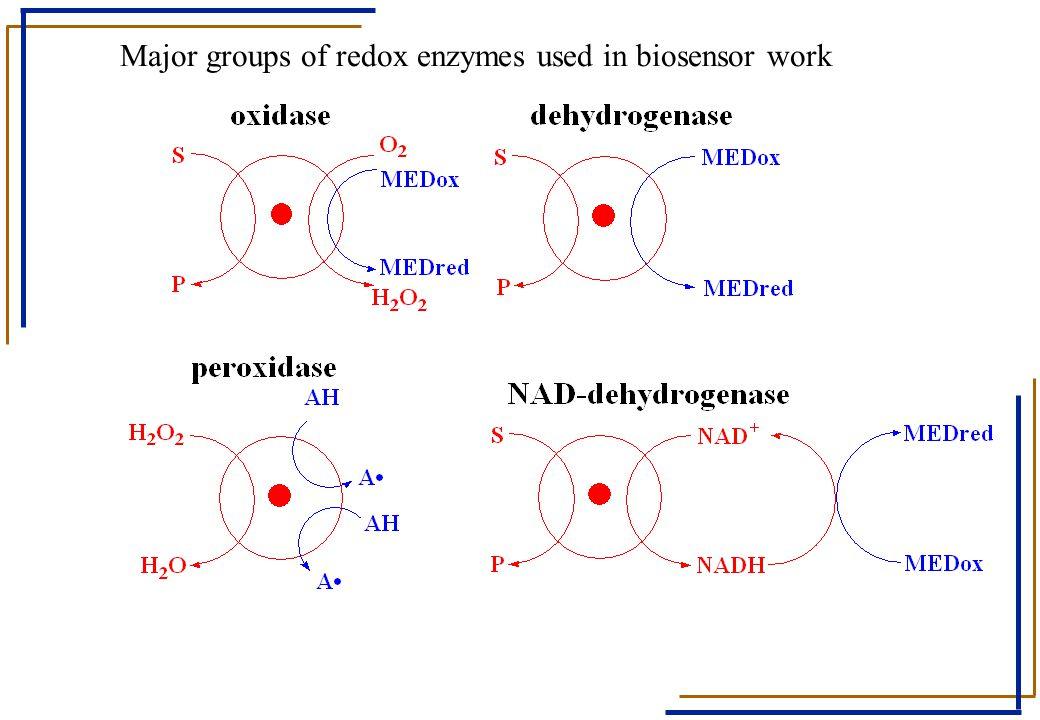 Major groups of redox enzymes used in biosensor work