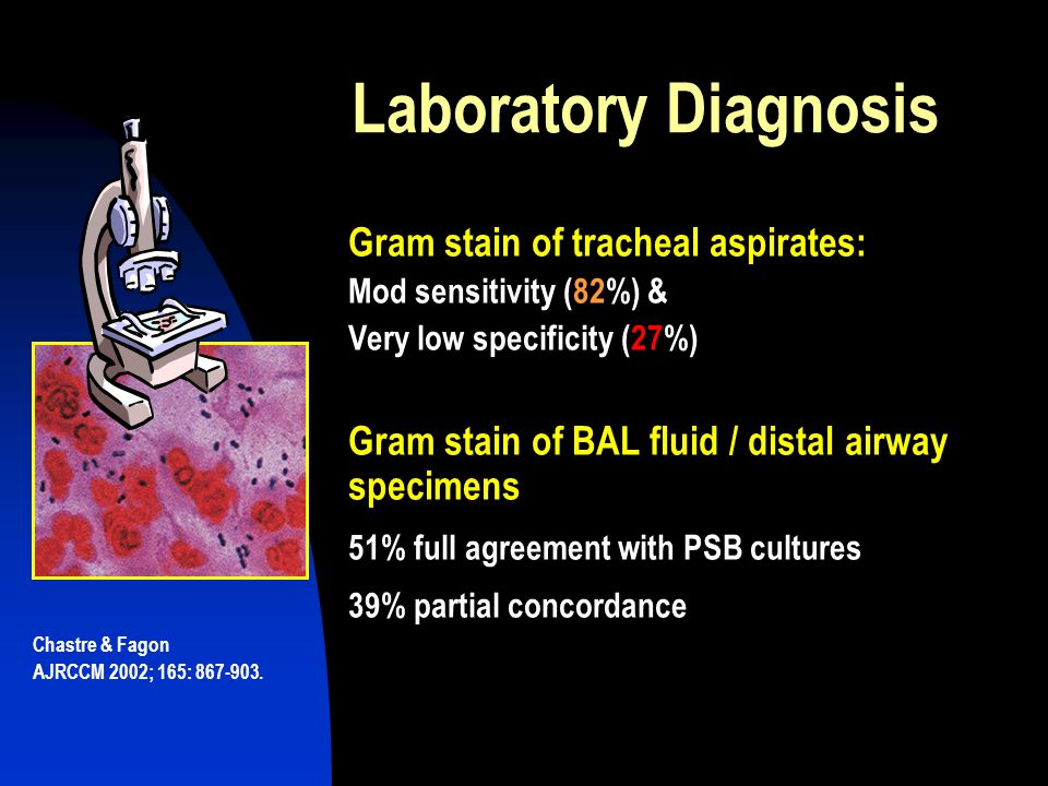 Laboratory Diagnosis Gram stain of tracheal aspirates: