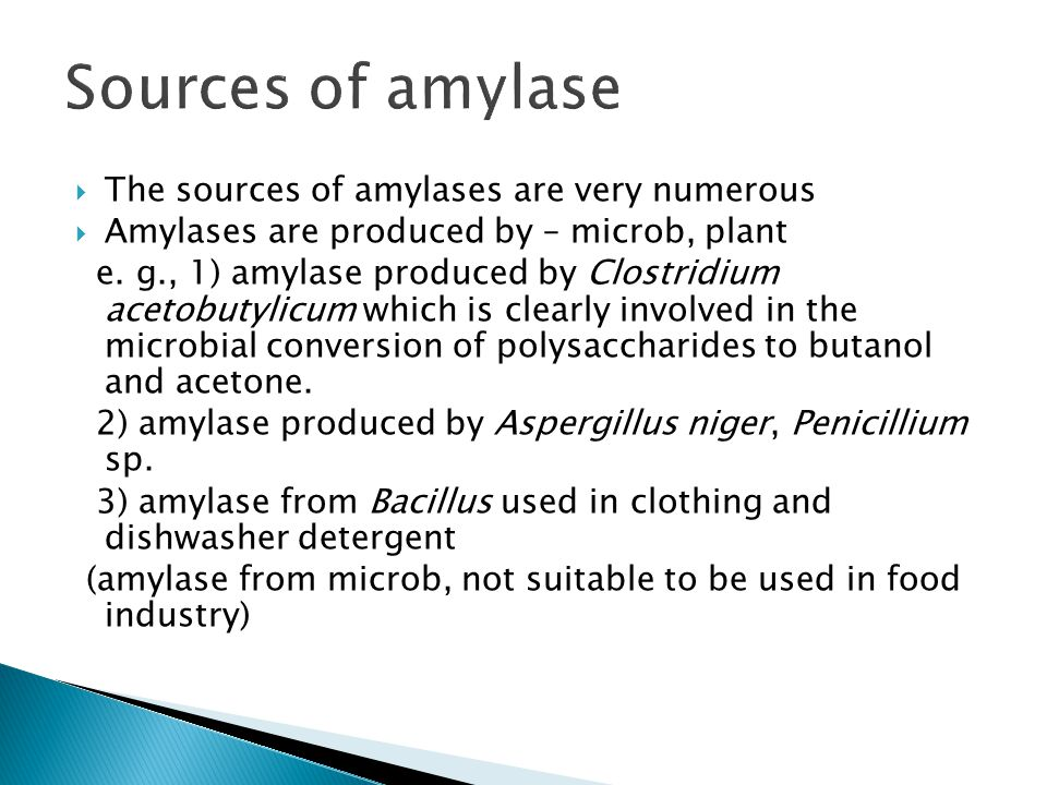 Sources of amylase The sources of amylases are very numerous