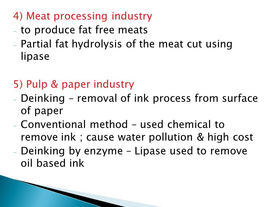 4) Meat processing industry