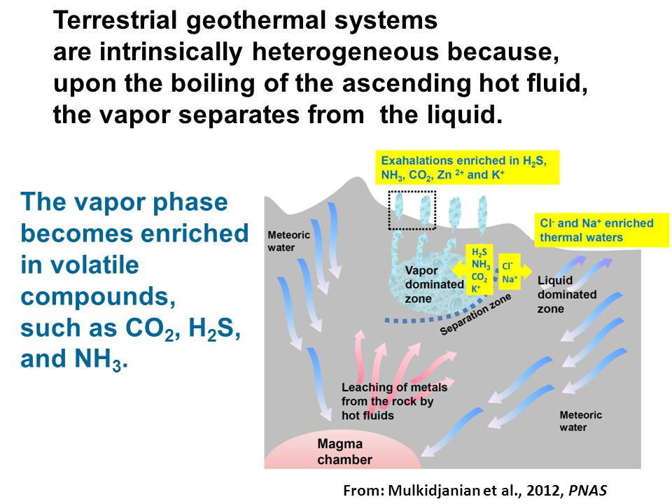 Terrestrial geothermal systems are intrinsically heterogeneous because, upon the boiling of the ascending hot fluid, the vapor separates from the liquid.