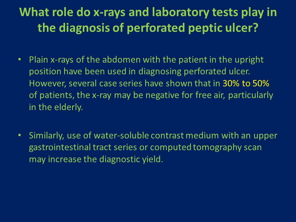 What role do x-rays and laboratory tests play in the diagnosis of perforated peptic ulcer