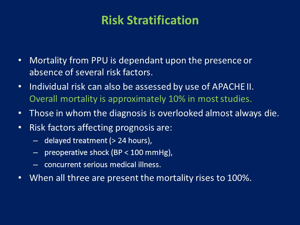 Risk Stratification Mortality from PPU is dependant upon the presence or absence of several risk factors.