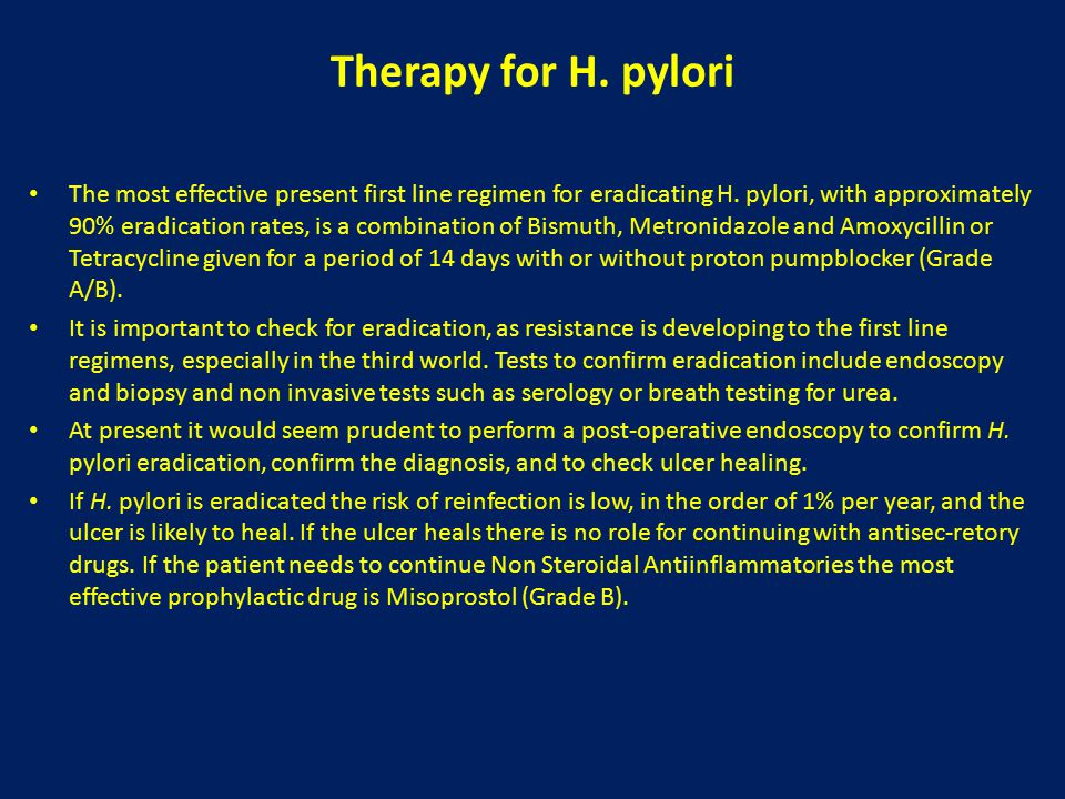 Therapy for H. pylori