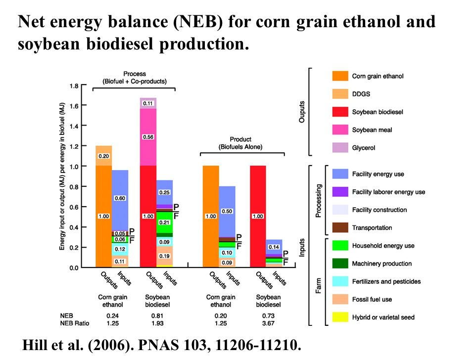 Net energy balance (NEB) for corn grain ethanol and soybean biodiesel production.