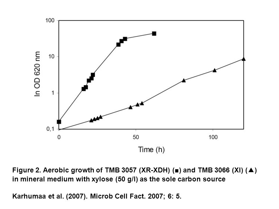 Figure 2. Aerobic growth of TMB 3057 (XR-XDH) (■) and TMB 3066 (XI) (▲) in mineral medium with xylose (50 g/l) as the sole carbon source