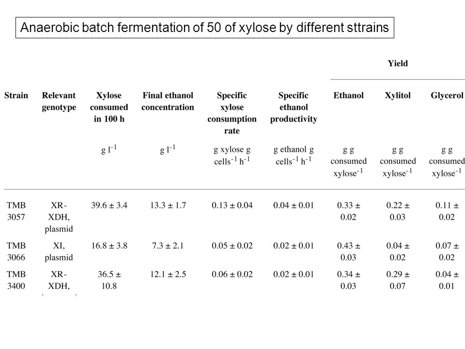 Anaerobic batch fermentation of 50 of xylose by different sttrains