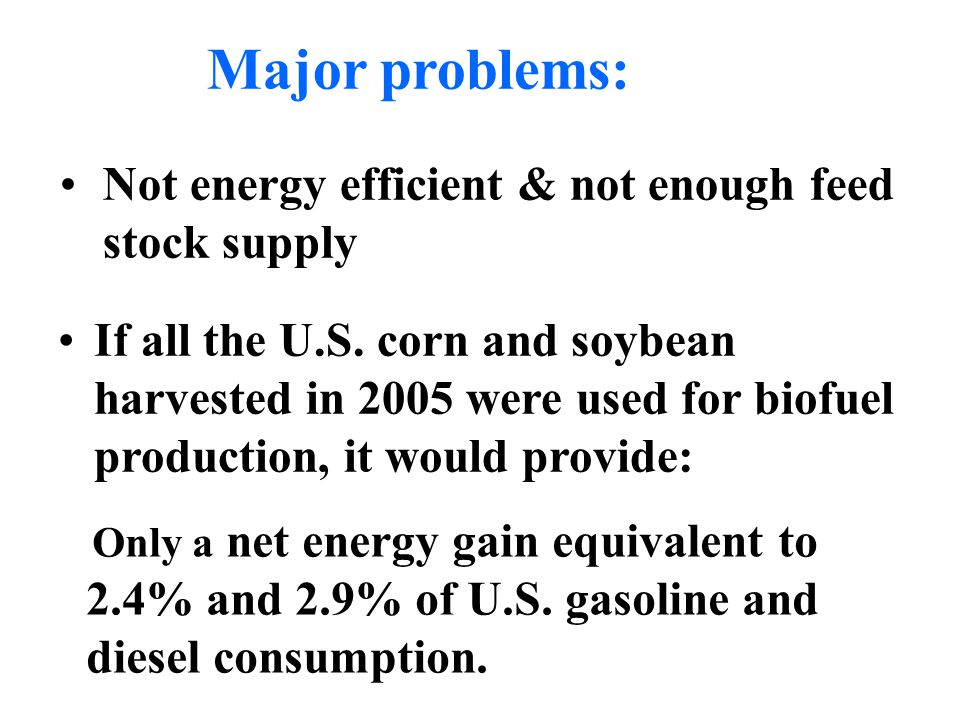 Major problems: Not energy efficient & not enough feed stock supply