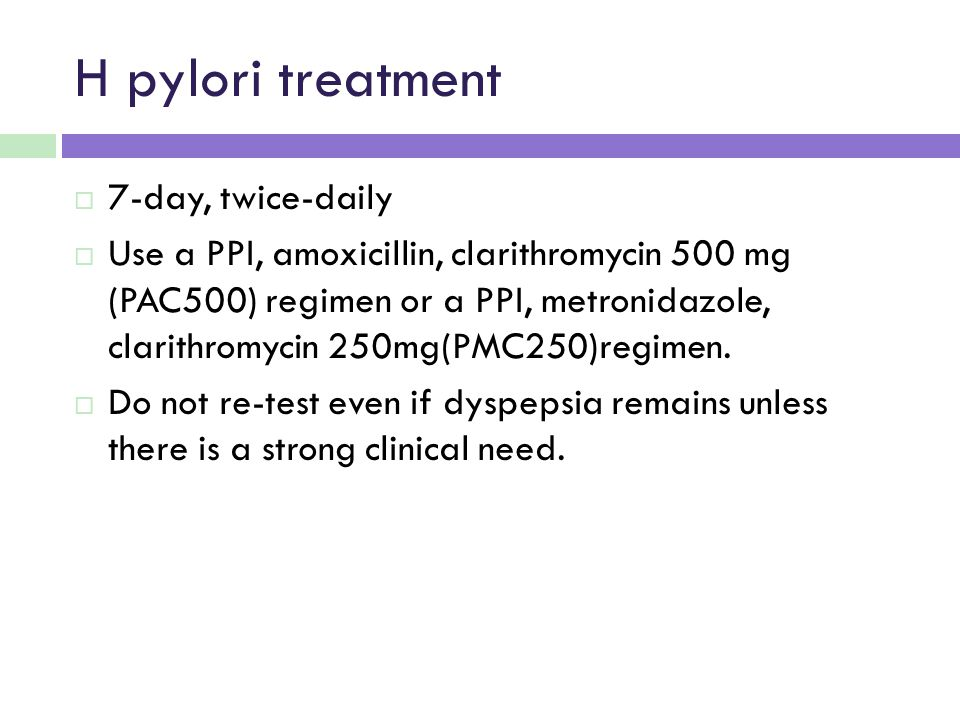 H pylori treatment 7-day, twice-daily
