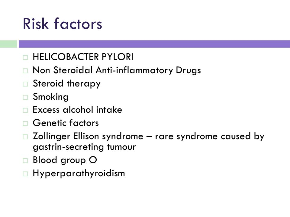 Risk factors HELICOBACTER PYLORI Non Steroidal Anti-inflammatory Drugs