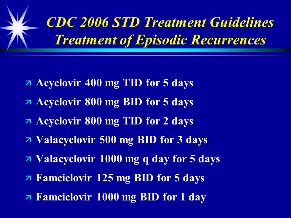 CDC 2006 STD Treatment Guidelines Treatment of Episodic Recurrences