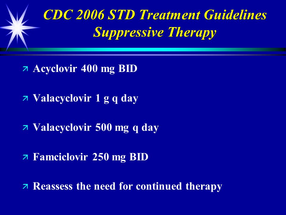 CDC 2006 STD Treatment Guidelines Suppressive Therapy