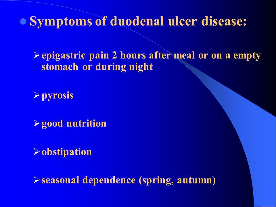 Symptoms of duodenal ulcer disease: