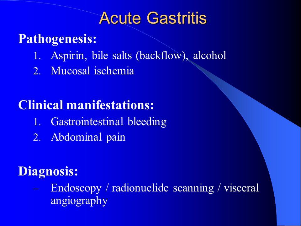 Acute Gastritis Pathogenesis: Clinical manifestations: Diagnosis: