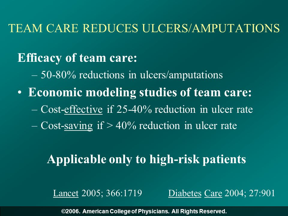 TEAM CARE REDUCES ULCERS/AMPUTATIONS