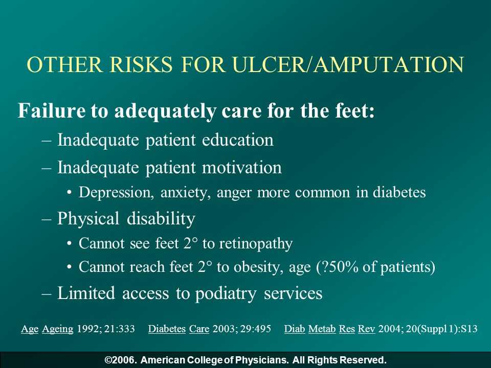 OTHER RISKS FOR ULCER/AMPUTATION