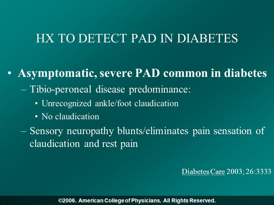 HX TO DETECT PAD IN DIABETES