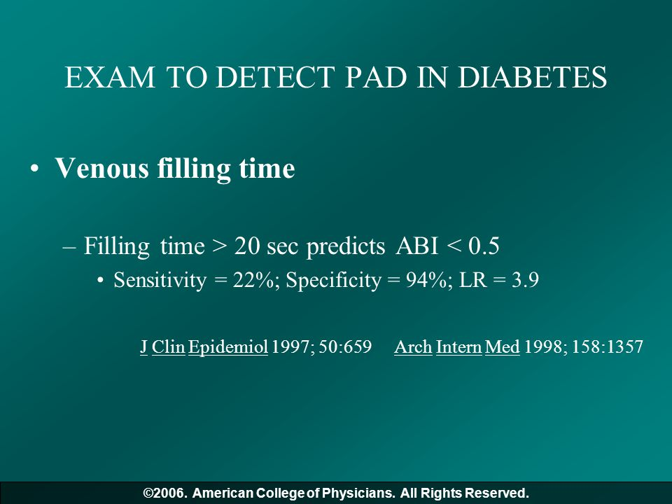 EXAM TO DETECT PAD IN DIABETES