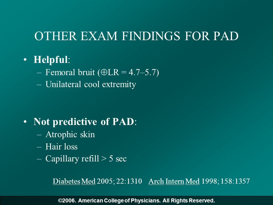 OTHER EXAM FINDINGS FOR PAD